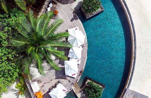 Vogelperspektive, Pool, Constance Moofushi Resort, Malediven