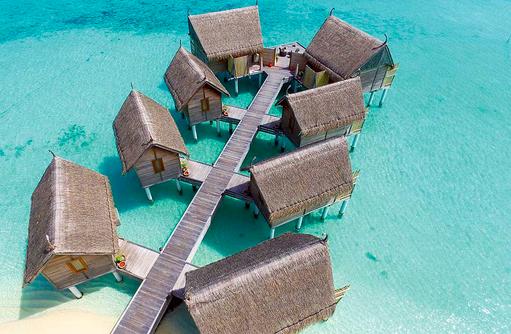 Vogelperspektive, Drohnenaufnahme, Spa de Constance, Constance Moofushi Resort, Malediven