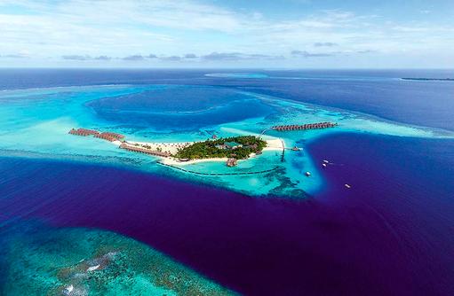 Luftaufnahme, Vogelperspektive, Constance Moofushi Resort, Malediven