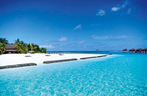 Sanstrand, Wellenbrecher, Constance Moofushi Resort, Malediven