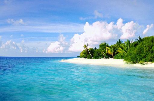 Blick auf den Strand vom Meer, COOEE OBLU at Helengeli, Maldives