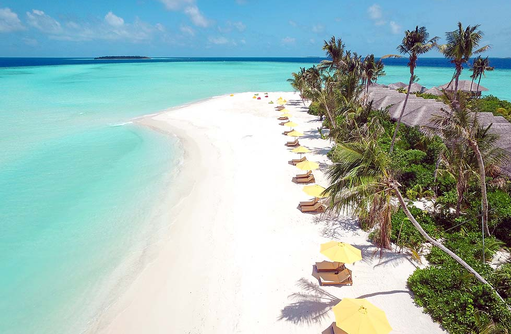 Strand mit Beach Villas im Dhigufaru Island Resort