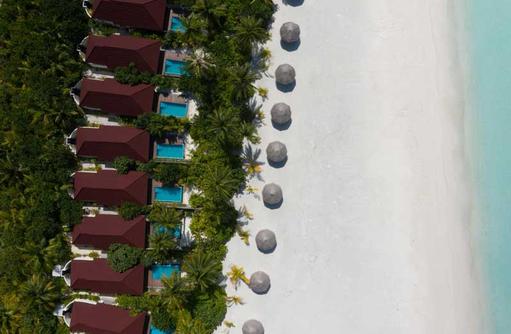 Luftaufnahme Veli Beach Pool Villas, Dhigufaru