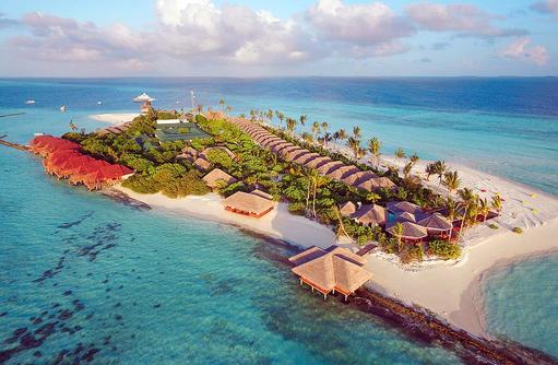 Drohnenbild der Insel Dhigufaru Island Resort