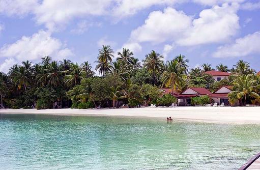 Blick auf den Strand un die üppige Vegetation, Diamonds Athuruga Beach & Water Villas, Maldives