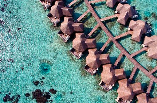 Wasser Villen von oben, Luftaufnahme, Drift Thelu Veliga Retreat, Malediven