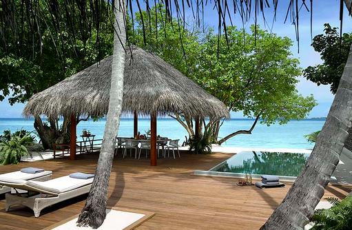 Two Bedroom Family Beach Villa, Sonnenterrasse, Pavilion, Pool, Dusit Thani Maldives