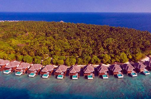 Drohnenaufnahme, Water Villen with Pool, Dusit Thani Maldives