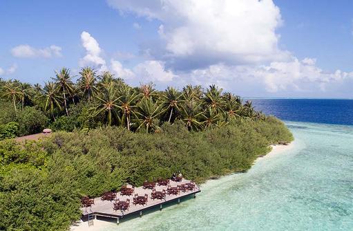 Bar, Sonnendeck, Vegetation, Embudu Village, Maldives