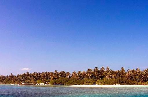 Insel vom Wasser aus, Panorama, Embudu Village, Maldives