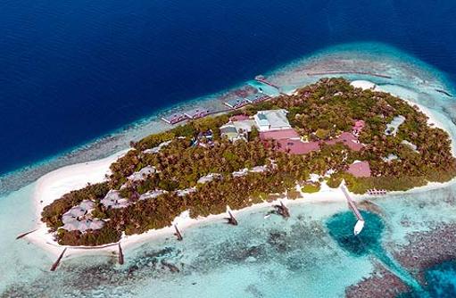 Gesamtansicht von oben, Panorama, Embudu Village, Maldives
