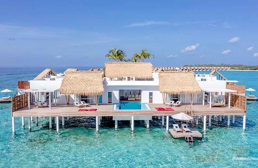 Terrasse der Presidential Wasser Villa, Emerald Maldives
