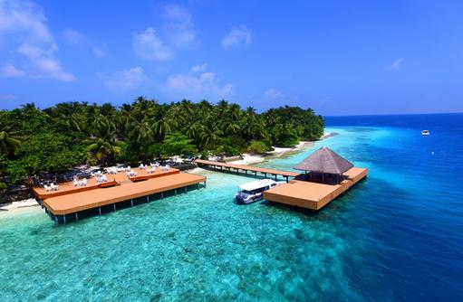Ankunftssteg, Fihalhohi Island Resort, Maldives