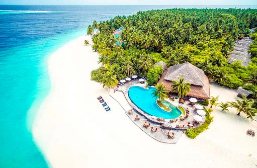 Vogelperspektive, Strand, Pool, Filitheyo Island, Maldiven