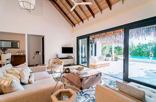 Wohnen in der 2 Bedroom Beach Pool Villa, Finolhu, Malediven