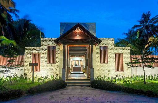 Eingang Spabereich am Abend, Furaveri Island Resort & SPA, Maldives