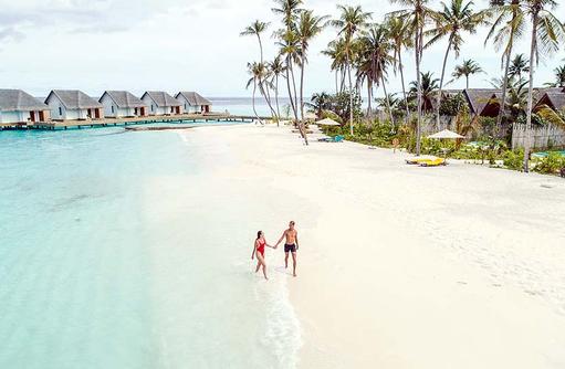 Strandspaziergang, Wasservillen, Beach Pool Villen, Fushifaru Maldives