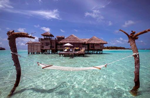 Crusoe Residence, Frontansicht, Hängematte, Gili Lankanfushi, Maldives