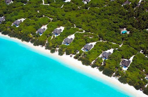 Blick auf die Beach Residencen mit eigenem Pool, Hideaway Beach Resort & SPA, Maldives