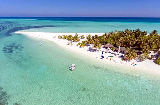 Drohnenaufnahme der Insel, Holiday Island Resort & Spa, Maldives