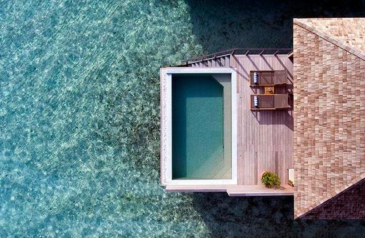 Vogelperspektive der Ocean Pool Villa, Hurawalhi Island Resort, Maldives