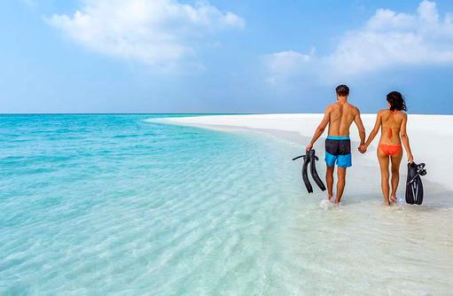 Strandspaziergang, Hurawalhi Island Resort, Maldives