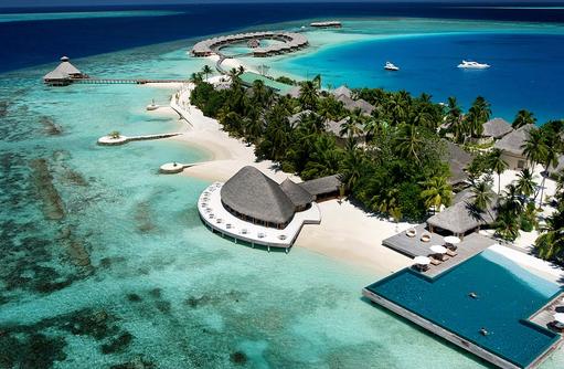 Blick auf die Insel von oben, Traumstrand, Huvafen Fushi Maldives