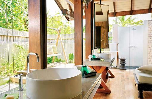 Badezimmer in der Beach Villa, Jumeirah Vittaveli, Maldives
