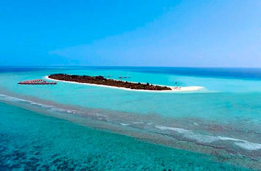 Panoramblick auf die Insel I Kanuhura Maldives