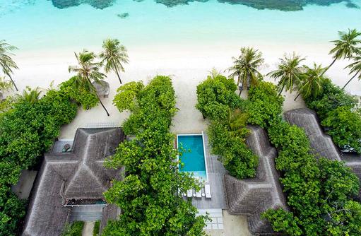Retreat Family Beach Pool Villa, Vogelperspektive I Kanuhura Maldives