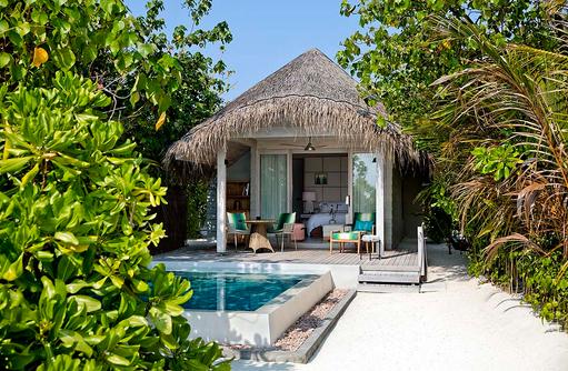 Beach Villa mit Pool, Aussenansicht I Kanuhura Maldives