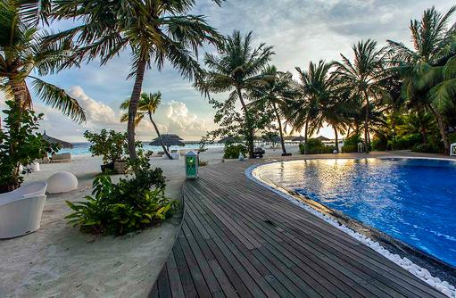 Pool direkt am Strand unter Palmen, Kihaa Maldives