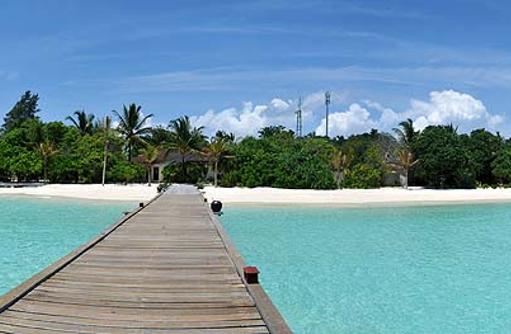 Steg zur Insel, Komandoo Island Resort, Maldives
