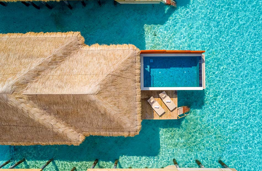 Watre Villa with Pool von oben, Kudafushi Resort & Spa, Maldives