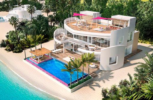 Frontansicht, Royal Beach Villa, LUX* North Male Atoll, Malediven