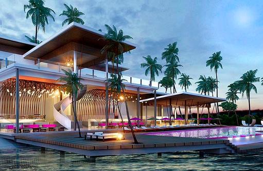Aussenansicht, Hauptrestaurant mit Infinity Pool, LUX* North Male Atoll, Malediven