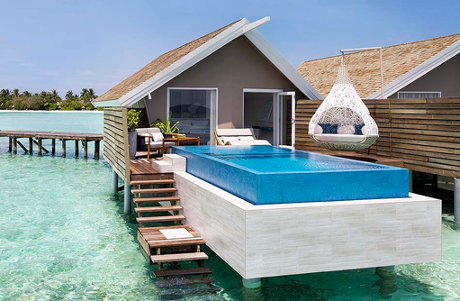 Signature Pool Water Villa, Sonnendeck, Infinity Pool, Nest I LUX South Ari Atoll