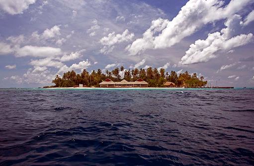 Blick vom Meer, Malahini Kuda Bandos, Malediven