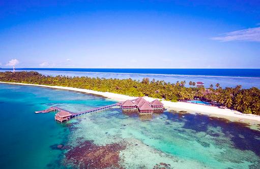 Inselanischt von oben, Medhufushi Island Resort, Maldives