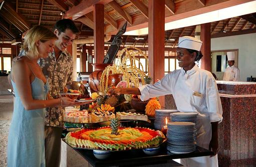 Maalan Buffet Restaurant, frische Früchte, Obst, Meeru Island Resort