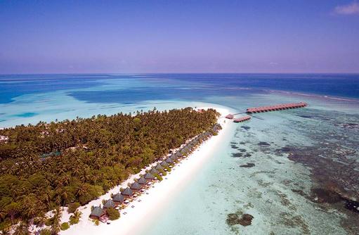 Vogelperspektive, Drohnenaufnahme, Beach Villen, Meeru Island Resort