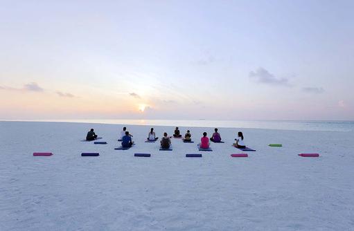 Yoga, Abenddämmerung, Blaue Stunde, Meeru Island Resort