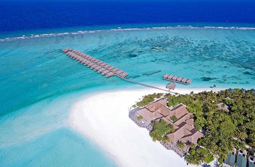 Luftaufnahme, Wasser Villen, Meeru Island Resort