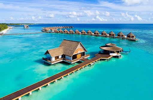 Luftaufnahme Küste, Mercure Maldives Kooddoo Resort