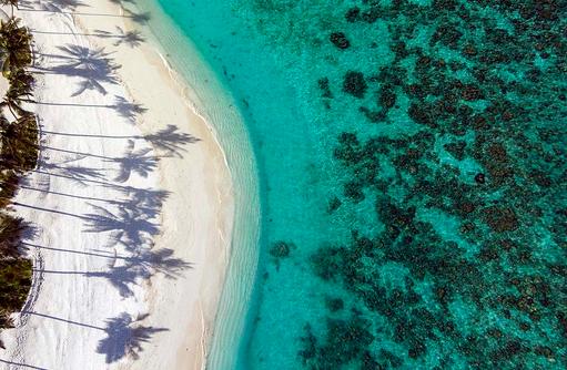 Strand von oben, Drohnenaufnahme, Milaidhoo Island, Maledives