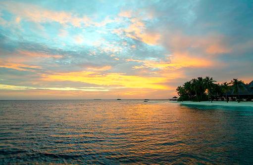Sonnenuntergang im Indischen Ozean, Mirihi Island Resort, Malediven