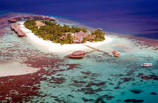 Luftaufnahme aus Südwesten, Mirihi Island Resort, Malediven