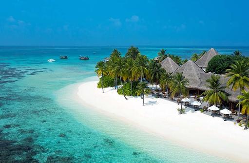 Strand von oben, Luftaufnahme, Anba Bar, Mirihi Island Resort, Malediven