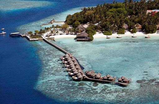 Wasser Villas Drohnenaufnahme, Nika Island Resort & Spa