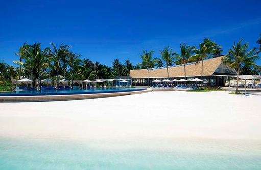 Blu Restaurant und Pool, Blick vom Meer, Niyama Private Islands Maldives